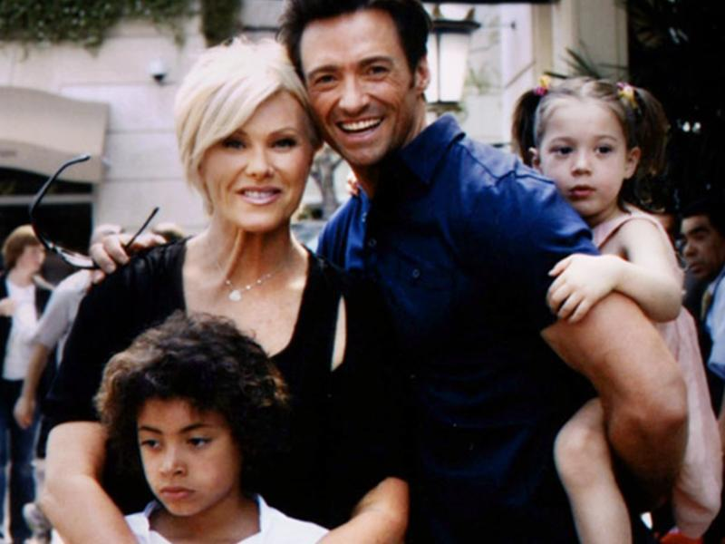 Hugh Jackman with wife and children