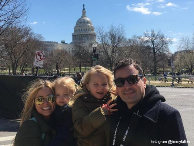 Jimmy Fallon and family in Washington