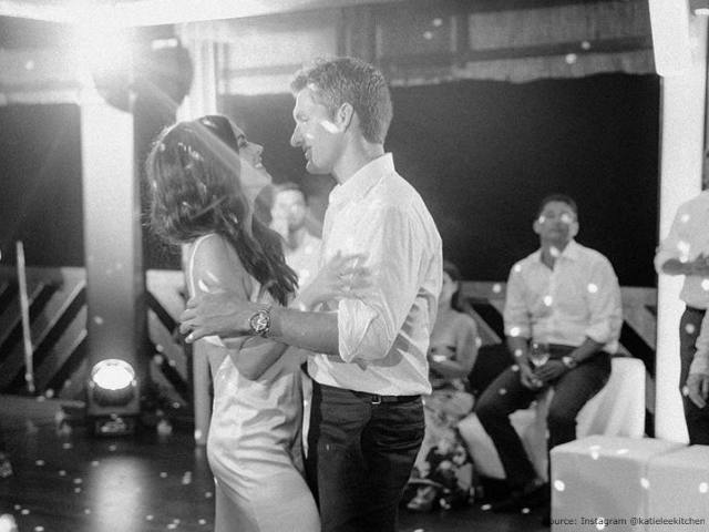 Katie Lee and her husband Ryan Biegel on their wedding day