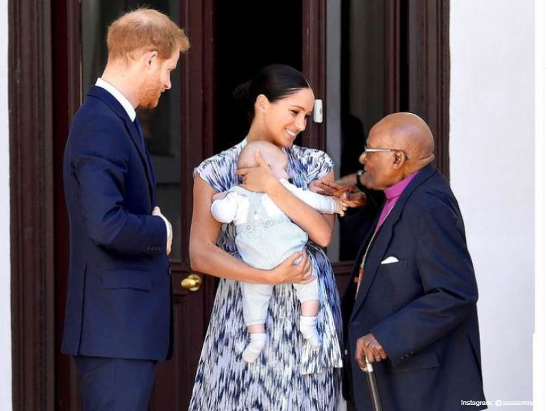 Meghan - Harry and their son Archie with Archbishop