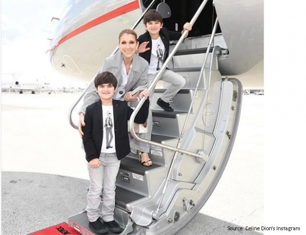 Celine Dion with her twins in Paris