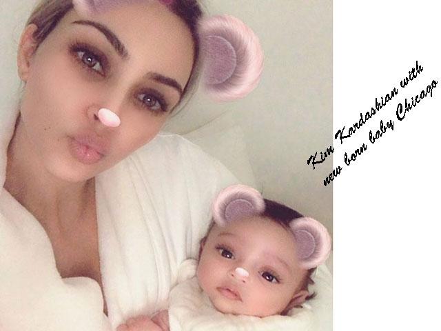 Kim Kardashian with her new born
