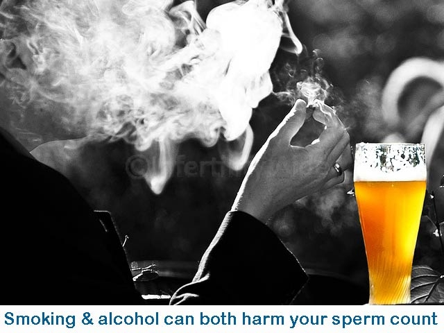Smoking and alcohol cause lower sperm count